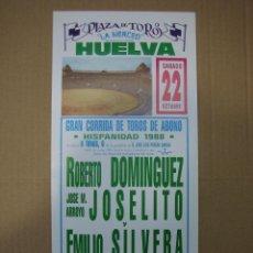 Carteles Feria: CARTEL PLAZA DE TOROS DE HUELVA1988. MEDIDAS14X35 CM. Lote 49258526