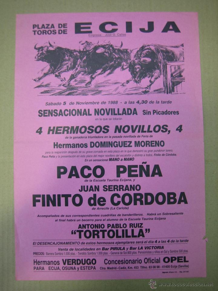 CARTEL PLAZA DE TOROS DE ECIJA (Coleccionismo - Carteles Gran Formato - Carteles Ferias, Fiestas y Festejos)
