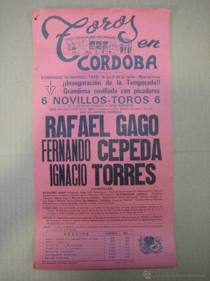 CARTEL PLAZA DE TOROS DE CORDOBA (Coleccionismo - Carteles Gran Formato - Carteles Ferias, Fiestas y Festejos)