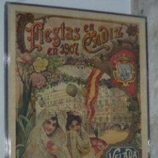 Carteles Feria: CARTEL DE FIESTAS EN CADIZ. 1907. CORRIDA DE TOROS. VELADA DE LOS ANGELES. 1.35 X 2.80 METROS. Lote 49442823