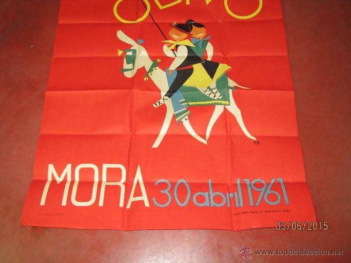 Carteles Feria: Antiguo Cartel V Fiesta del Olivo en MORA - (Toledo) del Año 1961 - Foto 3 - 49695482