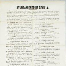 Carteles Feria: SEVILLA, AYUNTAMIENTO. EXPOSICIÓN Y PREMIOS GANADEROS PARA LA FERIA DE 1875. MUY INTERESANTE. Lote 49770910