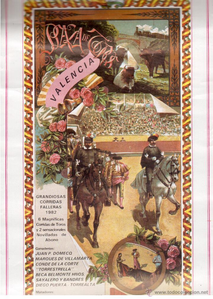 FALLAS DE VALENCIA CORRIDAS DE TOROS PROGRAMA (Coleccionismo - Carteles Gran Formato - Carteles Ferias, Fiestas y Festejos)