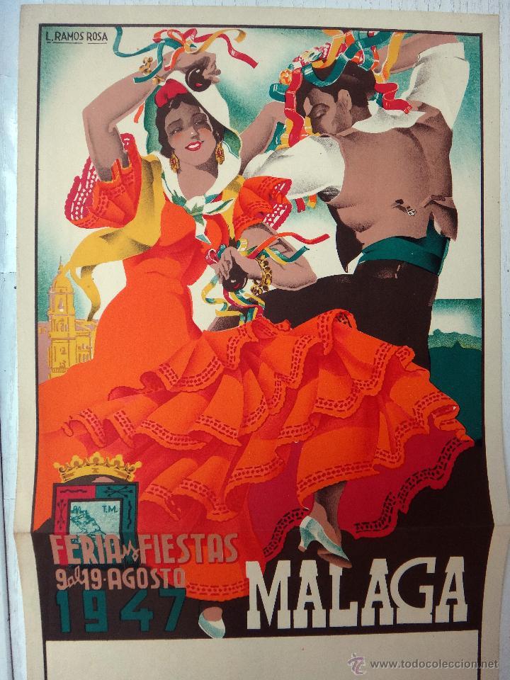 CARTEL FERIAS Y FIESTAS DE MALAGA , 1947 , L. RAMOS ROSA , LITOGRAFIA , ORIGINAL (Coleccionismo - Carteles Gran Formato - Carteles Ferias, Fiestas y Festejos)