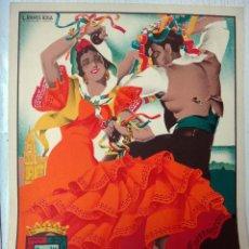 Carteles Feria: CARTEL FERIAS Y FIESTAS DE MALAGA , 1947 , L. RAMOS ROSA , LITOGRAFIA , ORIGINAL. Lote 50290894