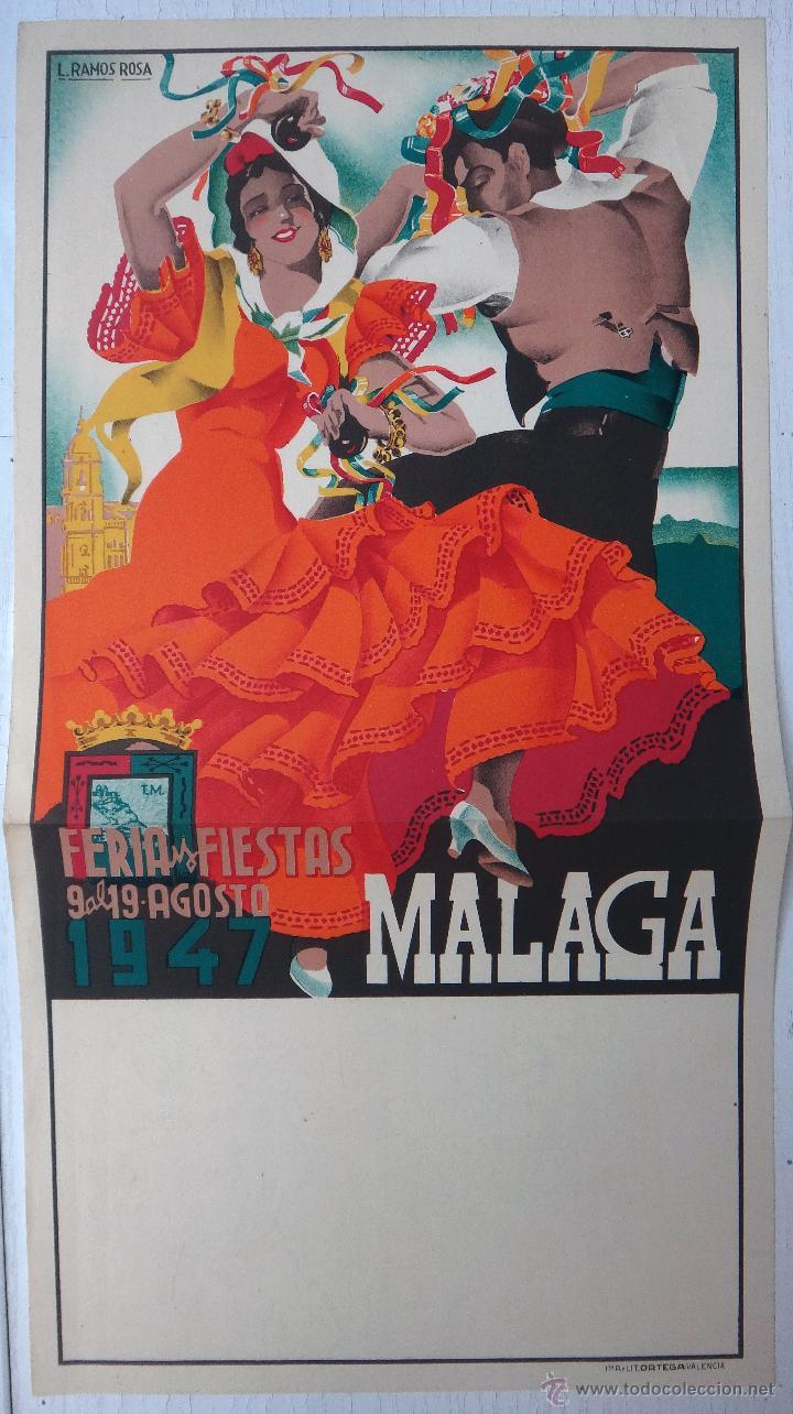 Carteles Feria: CARTEL FERIAS Y FIESTAS DE MALAGA , 1947 , L. RAMOS ROSA , LITOGRAFIA , ORIGINAL - Foto 2 - 50290894
