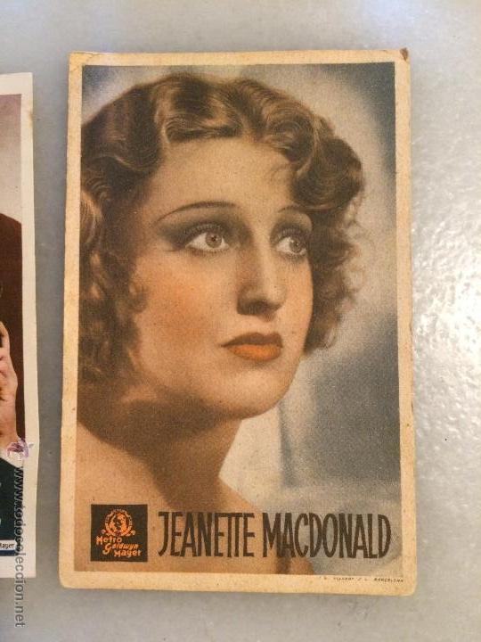 Carteles Feria: Antiguos 3 carteles de bolsillo de peliculas de cine la actriz Jeanette Macdolald de los años 40-50 - Foto 4 - 50362706