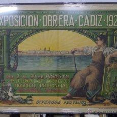 Carteles Feria: CARTEL EXPOSICIÓN OBRERA CADIZ 1923. ILUSTRADOR M. VIÑO. RODRÍGUEZ DE SILVA. 1 X 1,34 M. VER FOTOS.. Lote 50631157