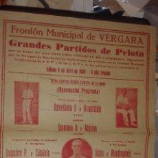 Carteles Feria: FRONTÓN MUNICIPAL DE VERGARA. PELOTA VASCA. AMOREBIETA II ,ARAQUISTAN, QUINTANA II, UGARTE, ETC. Lote 52692166