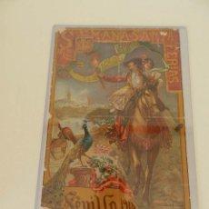 Carteles Feria: ALFONSO CAÑAVERAL Y ANTONIO G LOZANO CARTEL SEMANA SANTA Y FERIAS SEVILLA 1918 LITOGRAFÍA ORIGINAL. Lote 52835383
