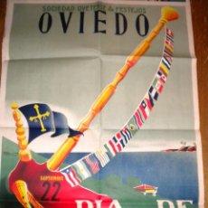 Carteles Feria: DIA DE AMERICA EN ASTURIAS DE ALFONSO IGLESIAS OVIEDO ORIGINAL 1951 / LIT. LUBA. Lote 52881077