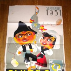 Carteles Feria: FIESTAS DE SAN MATEO SEPTIEMBRE DE ALFONSO IGLESIAS OVIEDO ORIGINAL 1951 / LIT. LUBA. Lote 52881144