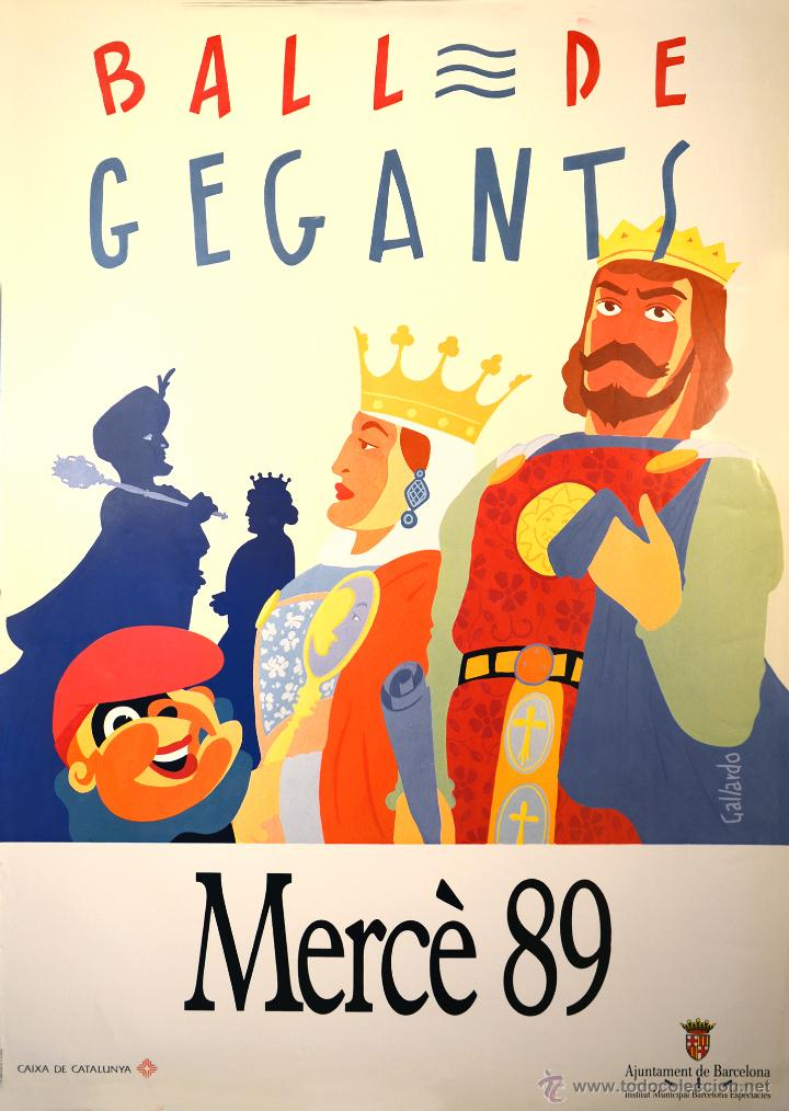 CARTEL BALL DE GEGANTS MERCE 89. 1989. GALLARDO. 97X69. BARCELONA (Coleccionismo - Carteles Gran Formato - Carteles Ferias, Fiestas y Festejos)