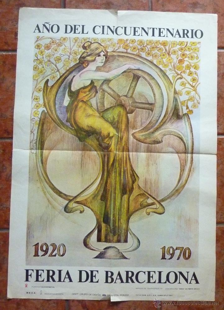 GRAN CARTEL FERIA DE BARCELONA 1920 - 1970 GRAFISTA POMAR MOTIVO MUJER MODERNISTA 100 /72 CM (Coleccionismo - Carteles Gran Formato - Carteles Ferias, Fiestas y Festejos)