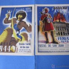 Carteles Feria: FERIAS Y FIESTAS DE SAN JUAN BADAJOZ AÑO 1944 Y 1949 PROGRAMA FOLLETO. Lote 53603927