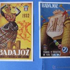 Carteles Feria: FERIAS Y FIESTAS DE SAN JUAN BADAJOZ AÑOS 1952 1953 PROGRAMA FOLLETO. Lote 53603968