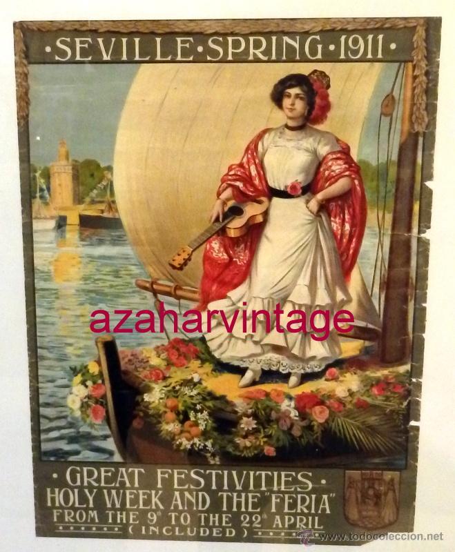 SEVILLA, 1911, CARTEL DE FIESTAS PRIMAVERALES, 30X39,5 CMS, 100% ORIGINAL, EN INGLES, RARISIMO (Coleccionismo - Carteles Gran Formato - Carteles Ferias, Fiestas y Festejos)