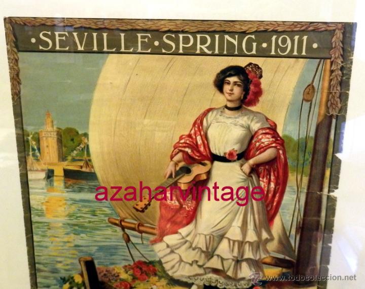 Carteles Feria: SEVILLA, 1911, CARTEL DE FIESTAS PRIMAVERALES, 30X39,5 CMS, 100% ORIGINAL, EN INGLES, RARISIMO - Foto 2 - 53902305