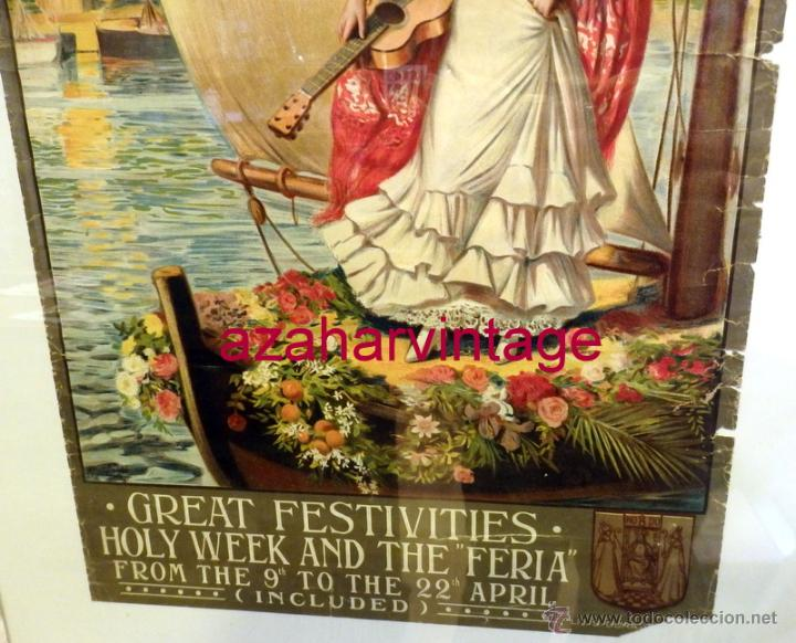 Carteles Feria: SEVILLA, 1911, CARTEL DE FIESTAS PRIMAVERALES, 30X39,5 CMS, 100% ORIGINAL, EN INGLES, RARISIMO - Foto 3 - 53902305