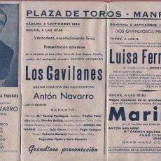 Carteles Feria: CARTEL PLAZA DE TOROS DE MANRESA - GRAN CIA. LIRICA ESPAÑOLA ANTON NAVARRO LOS GAVILANES. Lote 54011652