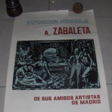 Carteles Feria: EXPOSICION HOMENAJE A RAFAEL ZABALETA DE SUS AMIGOS ARTISTAS DE MADRID. JUNIO 1961.. Lote 54559552