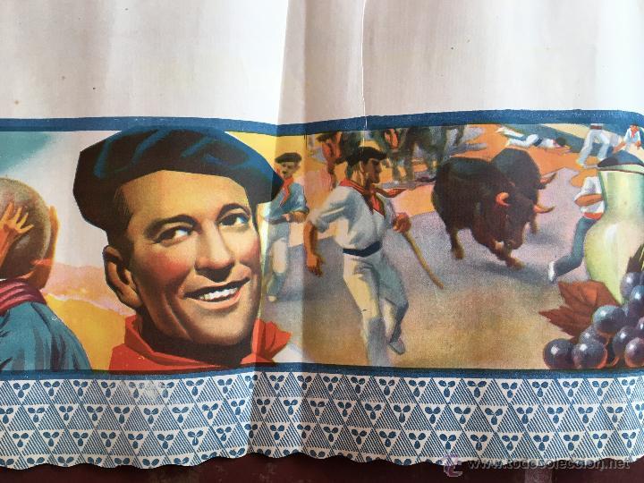 Carteles Feria: CARTEL PUBLICIDAD AÑOS 40 FIESTAS SAN FERMIN PAMPLONA NAVARRA TOROS DEPORTE ENCIERRO BAR (50) - Foto 3 - 54912211