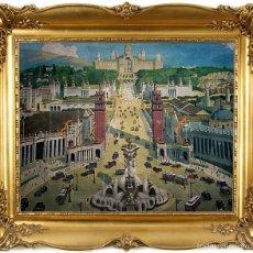 Carteles Feria: EXPOSICIÓN INTERNACIONAL DE BARCELONA 1929 - ANTIGUA IMPRESION SOBRE LIENZO. Lote 55181445