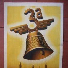 Carteles Feria: CARTEL 3ª FERIA NACIONAL DE MUESTRAS ZARAGOZA, 1943 . ORIGINAL. ILUSTRADOR MANUEL BAYO. Lote 55384803