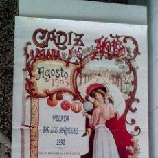 Carteles Feria: CARTEL VELADA DE LOS ANGELES. INSTALADA EN PASEO SANTA BARBARA 1991. Lote 56617516