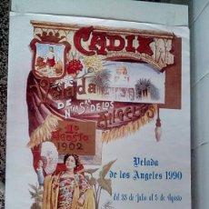 Carteles Feria: CARTEL VELADA DE NUESTRA SEÑORA DE LOS ANGELES CÁDIZ 1990. Lote 56741817