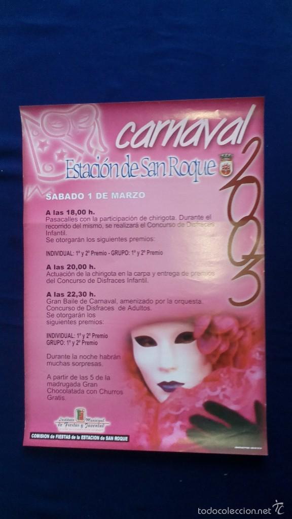 CARTEL CARNAVAL ESTACIÓN DE SAN ROQUE 2003 SABADO 1 MARZO (Coleccionismo - Carteles Gran Formato - Carteles Ferias, Fiestas y Festejos)