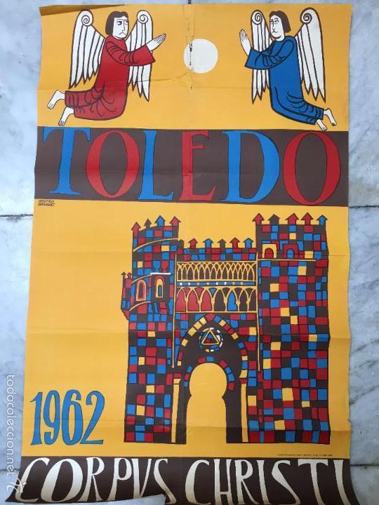 MAGNIFICO CARTEL DEL CORPUS CHRISTI DE TOLEDO AÑO 1962 - MEDIDA 1 METRO X 63CM (Coleccionismo - Carteles Gran Formato - Carteles Ferias, Fiestas y Festejos)