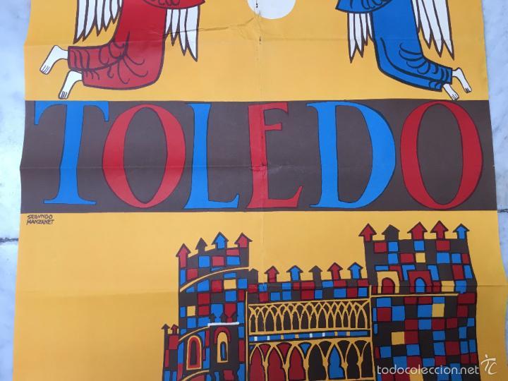 Carteles Feria: MAGNIFICO CARTEL DEL CORPUS CHRISTI DE TOLEDO AÑO 1962 - MEDIDA 1 METRO X 63CM - Foto 3 - 57470325
