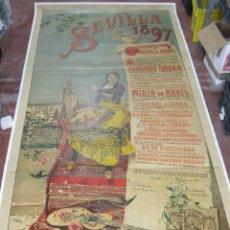 Carteles Feria: CARTEL. SEVILLA 1897. ENTELADO. FERIA DE ABRIL. MEDIDAS: 1.23M X 2.72M. TOROS, BANDAS MILITARES. VER. Lote 57506816