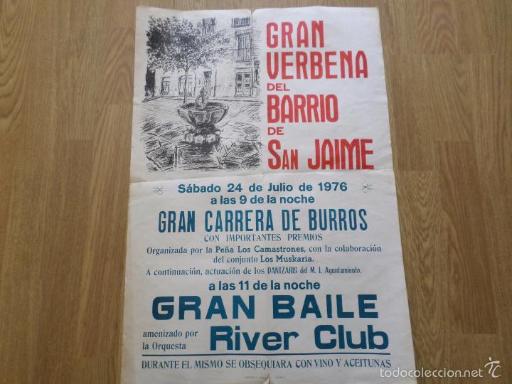 CARTEL GRAN VERBENA DEL BARRIO DE SAN JAIME TUDELA NAVARRA (Coleccionismo - Carteles Gran Formato - Carteles Ferias, Fiestas y Festejos)