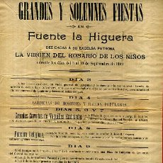 Cartazes Feira: CARTEL FERIAS Y FIESTAS FUENTE LA HIGUERA 1899 , VALENCIA, TOROS , ORIGINAL. Lote 58012445