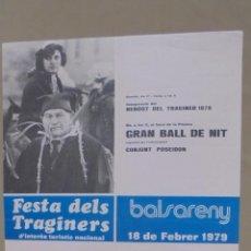 Carteles Feria: CARTEL. BALSERENY. FESTA DELS TRAGINERS. 1979.. Lote 58207098