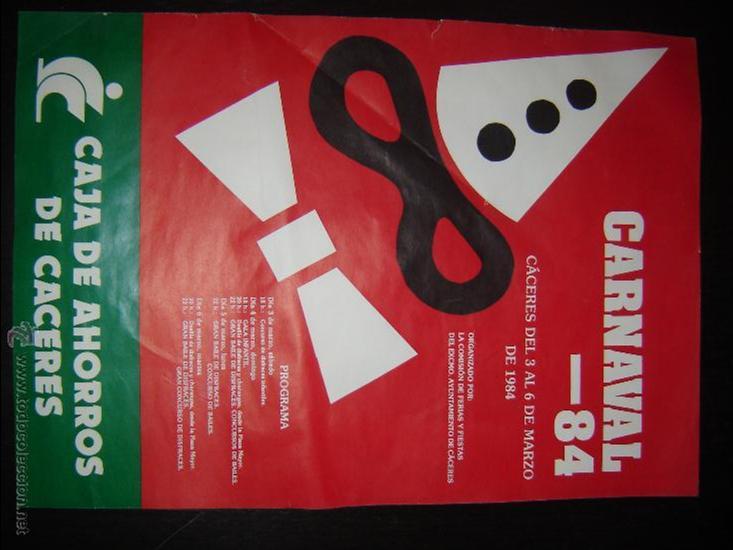 CARTEL CARNAVAL . AYUNTAMIENTO DE CÁCERES. 1984. (Coleccionismo - Carteles Gran Formato - Carteles Ferias, Fiestas y Festejos)
