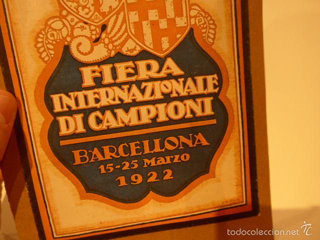 Carteles Feria: Antiguo cartel de feria de barcelona en italiano, 1922, fiera internazionale di campioni - Foto 2 - 58271692