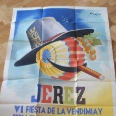 Carteles Feria: CARTEL DE LA FIESTA DE LA VENDIMIA EN JEREZ DE LA FRONTERA. SEPTIEMBRE 1953. FIRMADO RAGA. . Lote 61847328