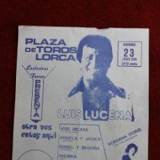 Carteles Feria: CARTEL PLAZA DE TOROS LORCA, LUIS LUCENA Y ROSSANA DORIS, 1985. Lote 62534520