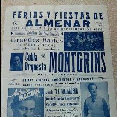 Carteles Feria: GRAN CARTEL DE LA FERIA Y FIESTAS DE ALMENAR LERIDA. SEPTIEMBRE 1959. Lote 62683884