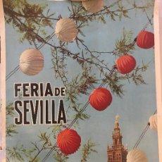 Carteles Feria: CARTEL, FERIA SEVILLA 1962, A. PALAU. MEDIDAS 480X690MM. VER FOTOS. Lote 64753003
