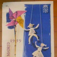 Carteles Feria: GRAN CARTEL ORIGINAL FIESTAS DE SAN ISIDRO 1959.DIBUJO PAREDES JARDIEL. ARTES GRAFICAS MUNICIPALES. Lote 66244794