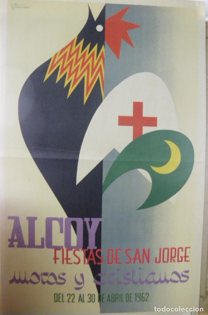 CARTEL ANUNCIADOR FIESTAS DE SAN JORGE. ALCOY 1962 ORIGINAL ÉPOCA (Coleccionismo - Carteles Gran Formato - Carteles Ferias, Fiestas y Festejos)