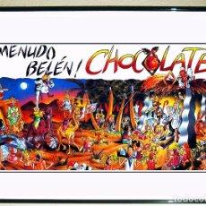 Carteles Feria: CARTEL DE DISCOTECA - CHOCOLATE - MUNDO BELÉN DE FIESTAS NAVIDAD DEL 92 TAMAÑO 68 X 34 CMS. Lote 118830806