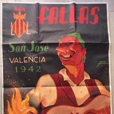 Carteles Feria: CARTEL ORIGINAL DE LAS FALLAS DE SAN JOSE 1942 VALENCIA. Lote 72872975