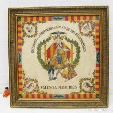 Affiches Foire: CARTEL POSTER ANTIGUO SEDA 1923 CORONACION VIRGEN DE LOS DESAMPARADOS GEPERUDETA VALENCIA. Lote 242035740