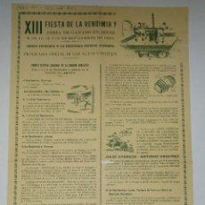 Carteles Feria: CARTEL DE XIII FIESTA DE LA VENDIMIA Y FERIA DEL GANADO EN JEREZ, 1960. 56 X 31,5 CM. LEER.. Lote 78219857