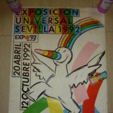 Carteles Feria: CARTEL PUBLICITARIO MASCOTA CURRO DE LA EXPO 92 DE SEVILLA. Lote 79979717